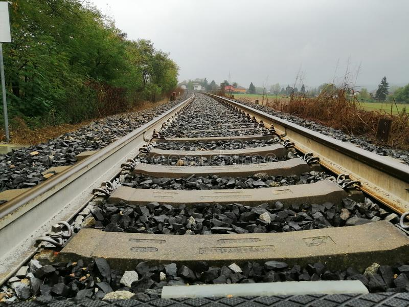 Want to travel, tracks of a train go to the infinite royalty free stock image