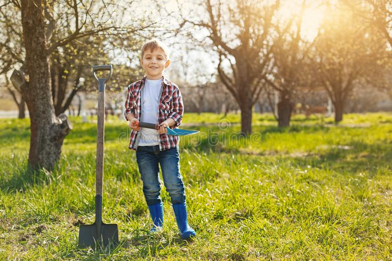 Positive little boy standing in the garden. Want to work. Positive nice preschool boy holding a spade in hands and standing in the garden while expressing wish royalty free stock image