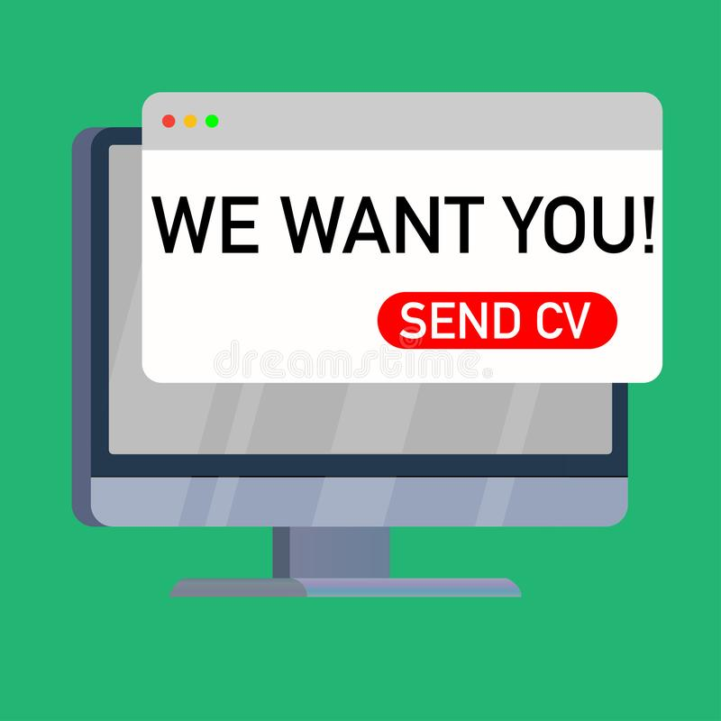 we want you cv on computer screen royalty free illustration
