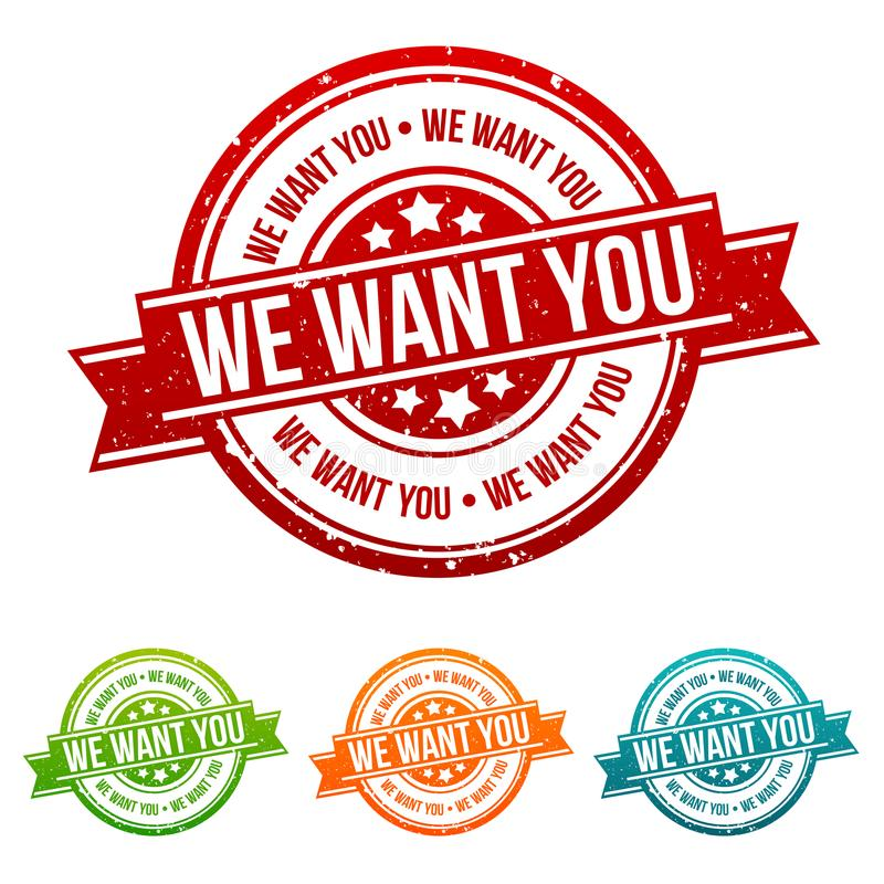 We want you Stamp - Badges in different colours. Eps10 Vector badge royalty free illustration