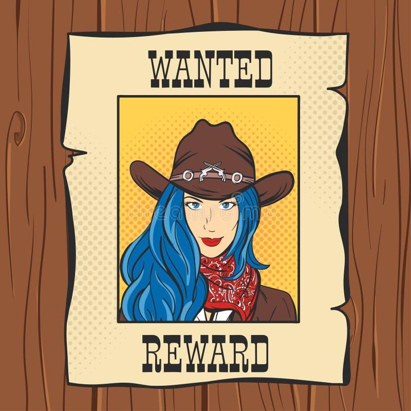 Wanted葡萄酒西部海报的传染媒介例证 库存例证
