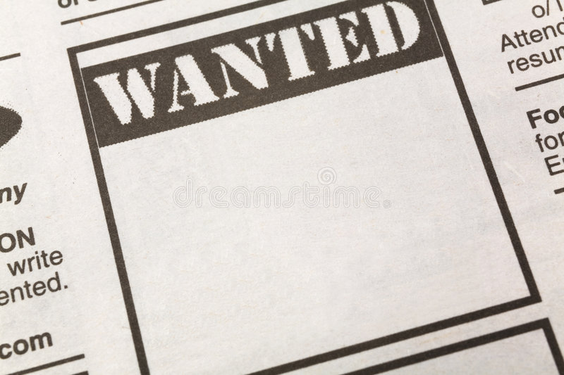 Wanted. Newspaper Wanted ad, Employment concept royalty free stock photos