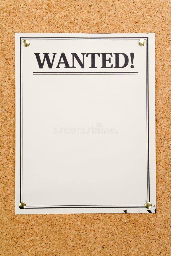 Wanted. Poster close up shot stock photo