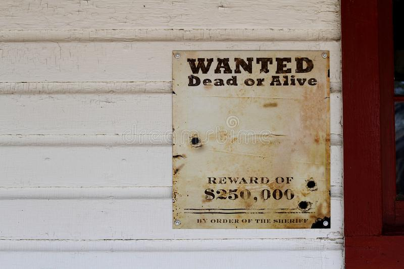 Wanted Dead or Alive Reward Poster. stock photo