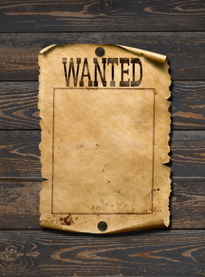 Wanted dead or live blank poster. Wild west background. Wanted dead or live blank poster royalty free stock photo
