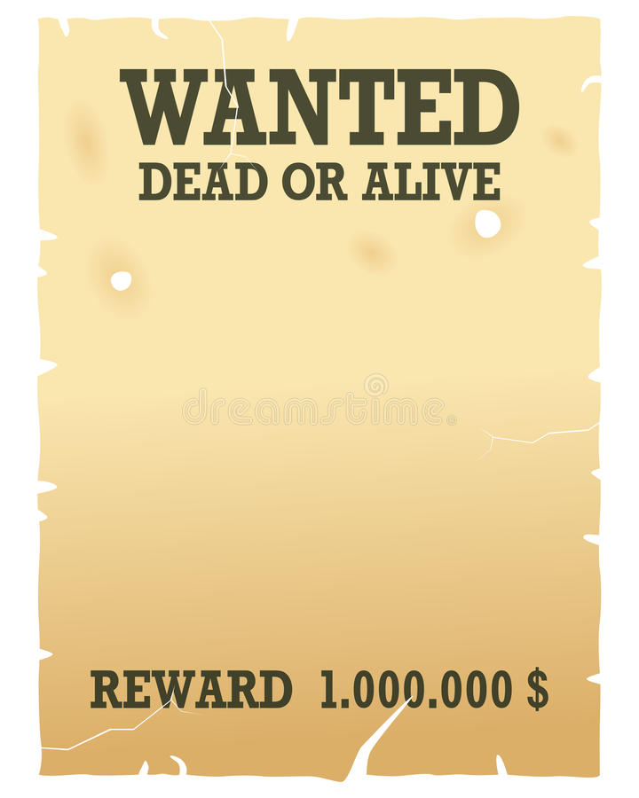 Free Wanted Dead Or Alive Poster Royalty Free Stock Photos - 21808188