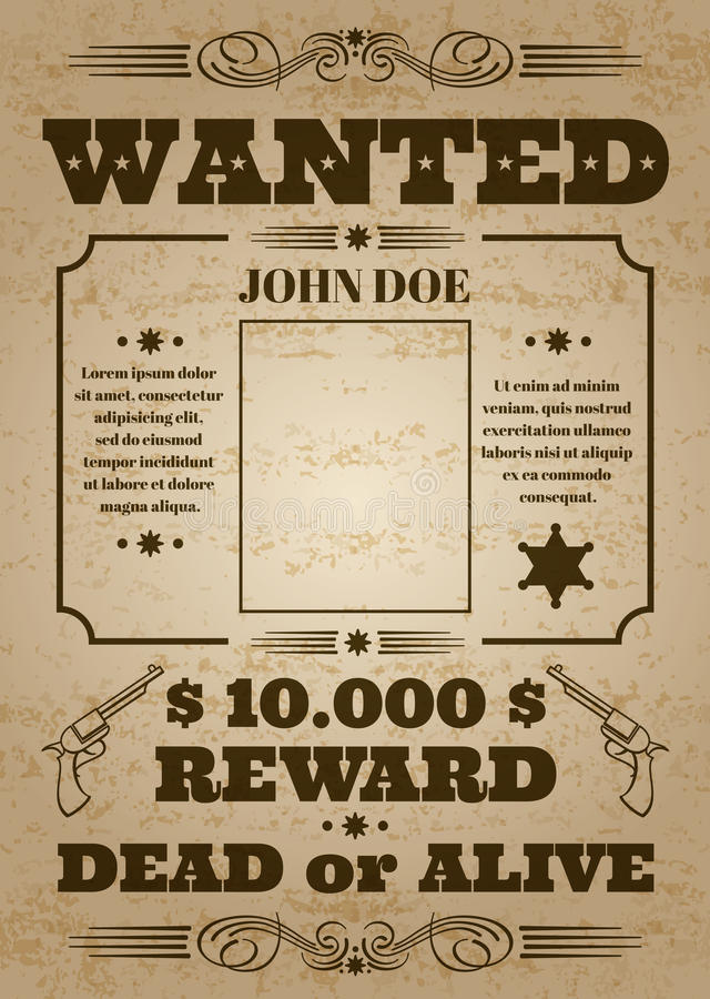 Free Wanted Dead Or Alive Western Old Vintage Vector Poster With Distressed Texture Royalty Free Stock Image - 89358526