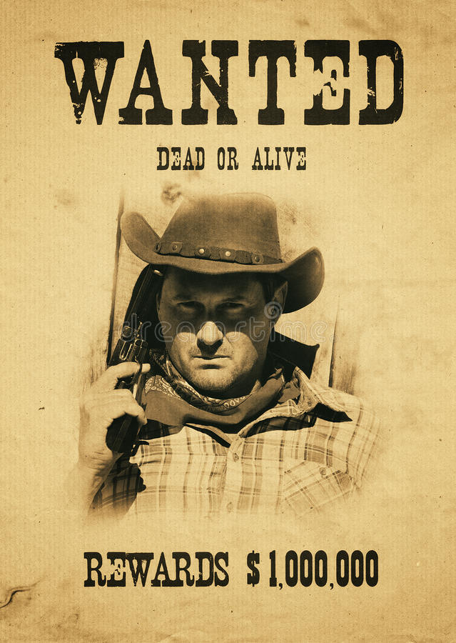 Wanted far west. Vintage wanted poster in a gost town royalty free stock image