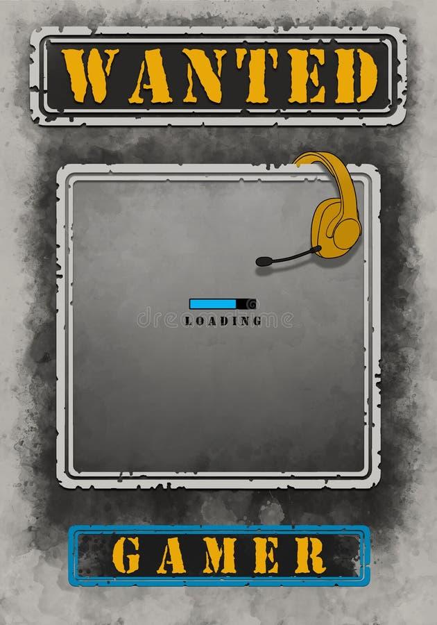 Wanted Gamer Poster Loading Illustration. Wanted Gamer Poster Loading Design stock illustration