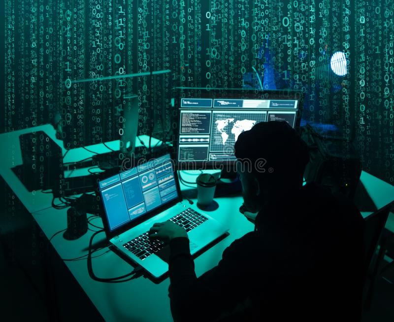 Wanted hackers coding virus ransomware using laptops and computers. Cyber attack, system breaking and malware concept. Wanted hackers coding virus ransomware royalty free stock image