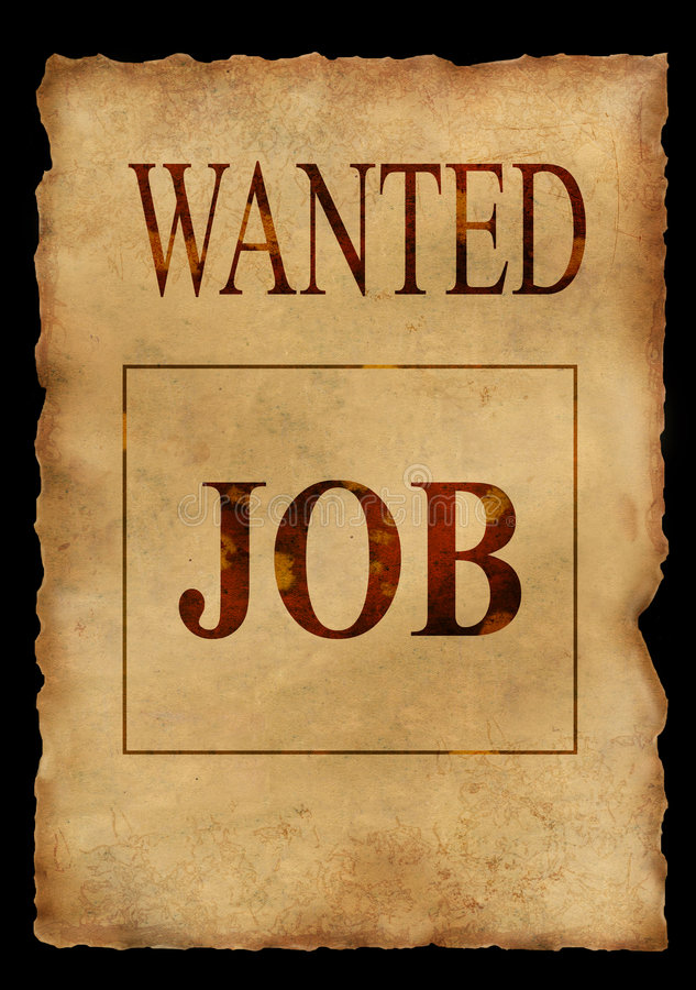 Wanted job. Grunge paper background royalty free illustration