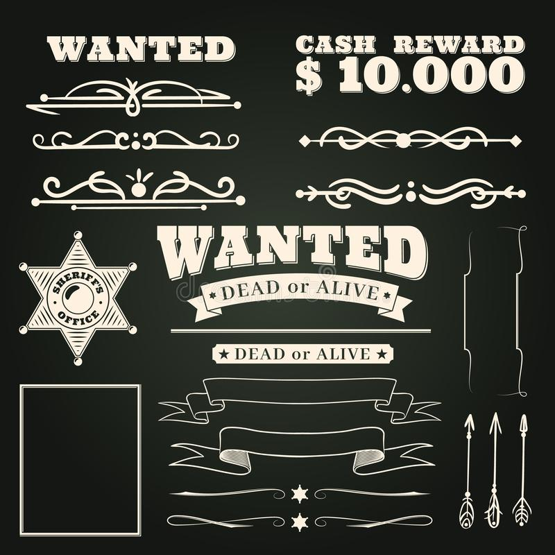Wanted ornaments. Country vintage western saloon tattoos pattern and cowboy frame scroll elements on dark background royalty free illustration