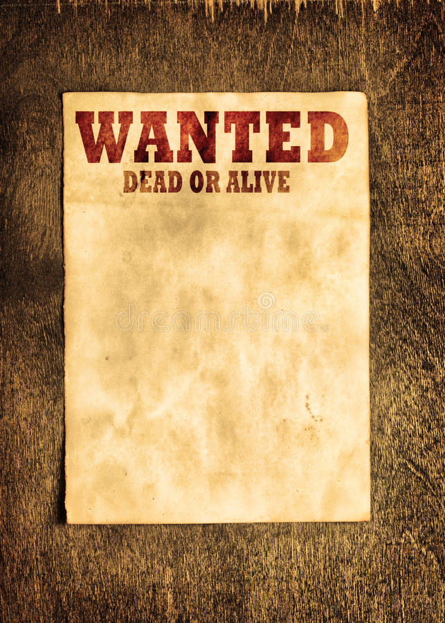 Wanted poster. Vintage wanted poster on wooden wall royalty free stock image