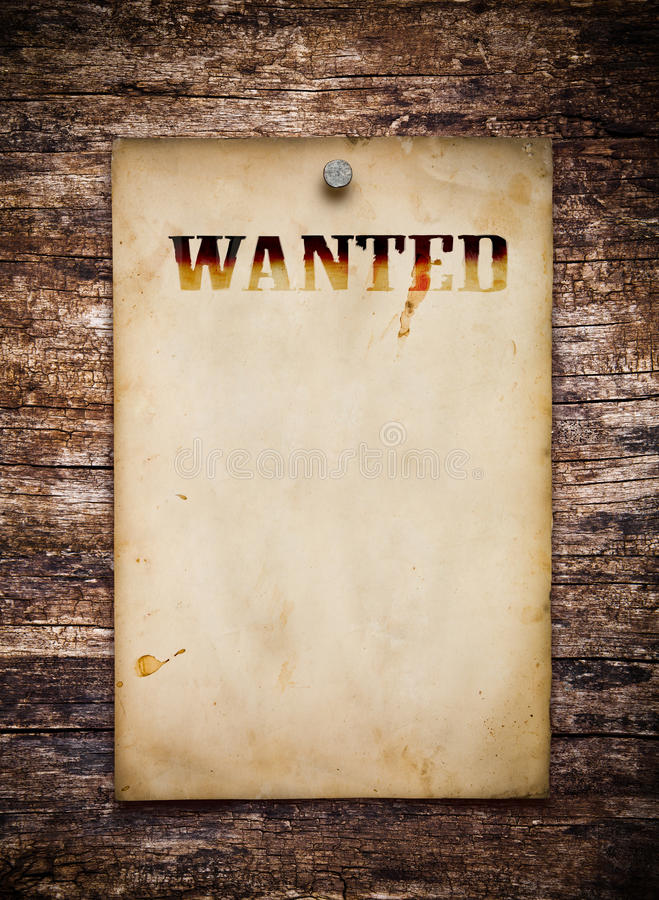 Wanted poster. On old wooden wall royalty free stock photos