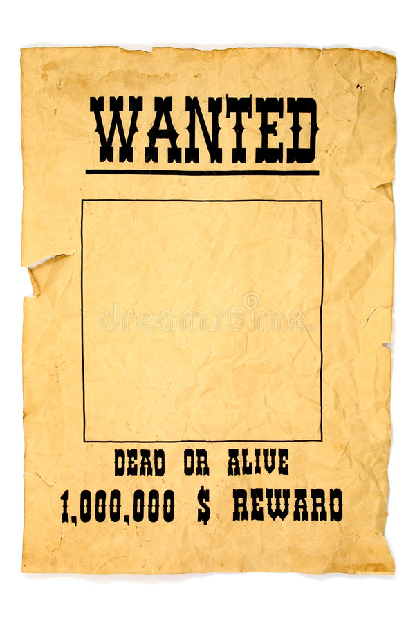 Wanted poster. Isolated old wanted poster with a blank space for a photo royalty free stock photos