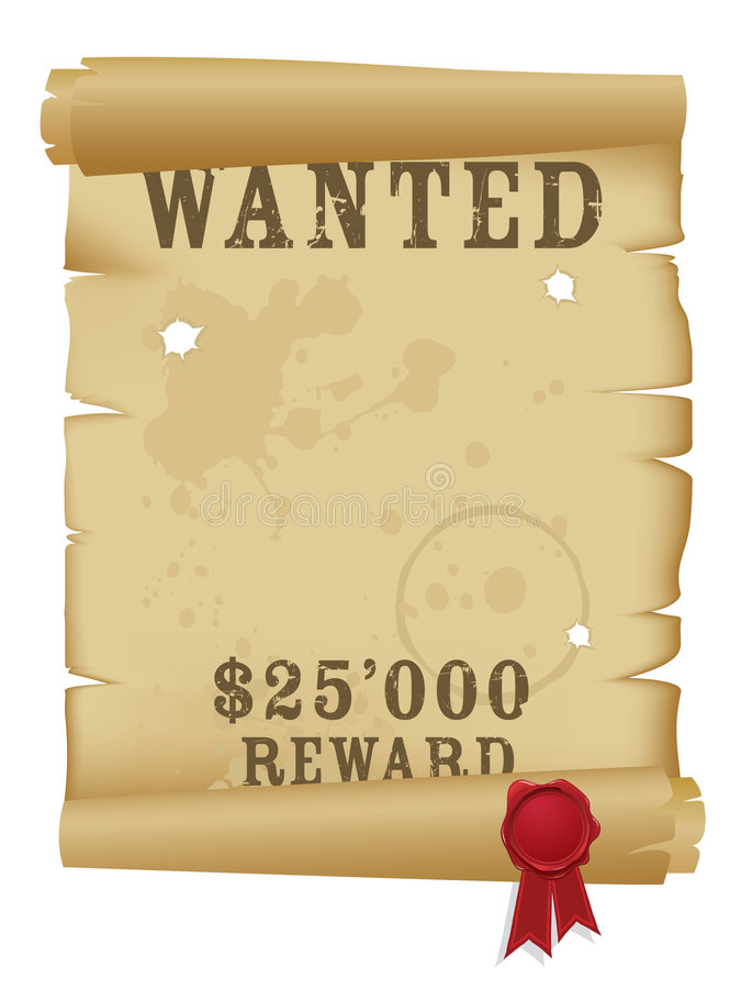 Download Wanted poster stock vector. Image of rolled, journal, brown - 7008751