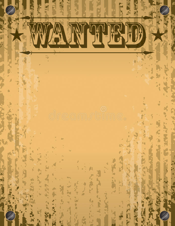 Wanted Poster. A grunge wanted poster with space for type and info