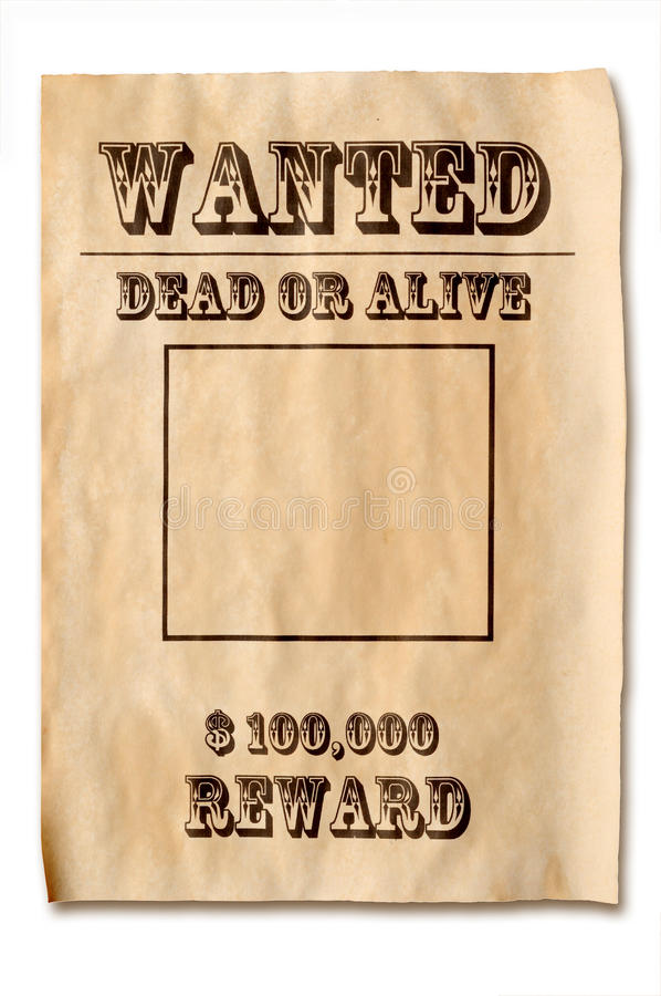 Wanted poster with reward royalty free stock photos