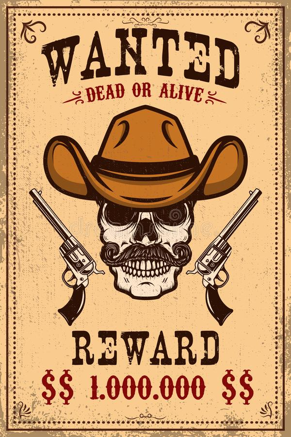 Wanted poster template. Cowboy skull with crossed revolvers. Design element for poster, card, label, sign, card, banner stock illustration
