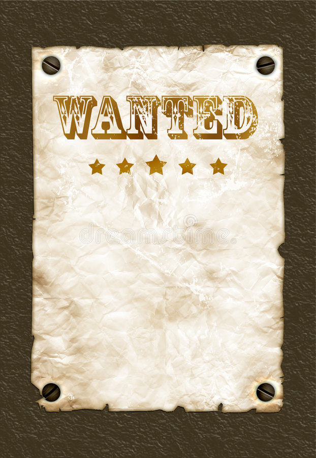 Wanted poster on wall. Old stained wanted poster on a wall royalty free stock images