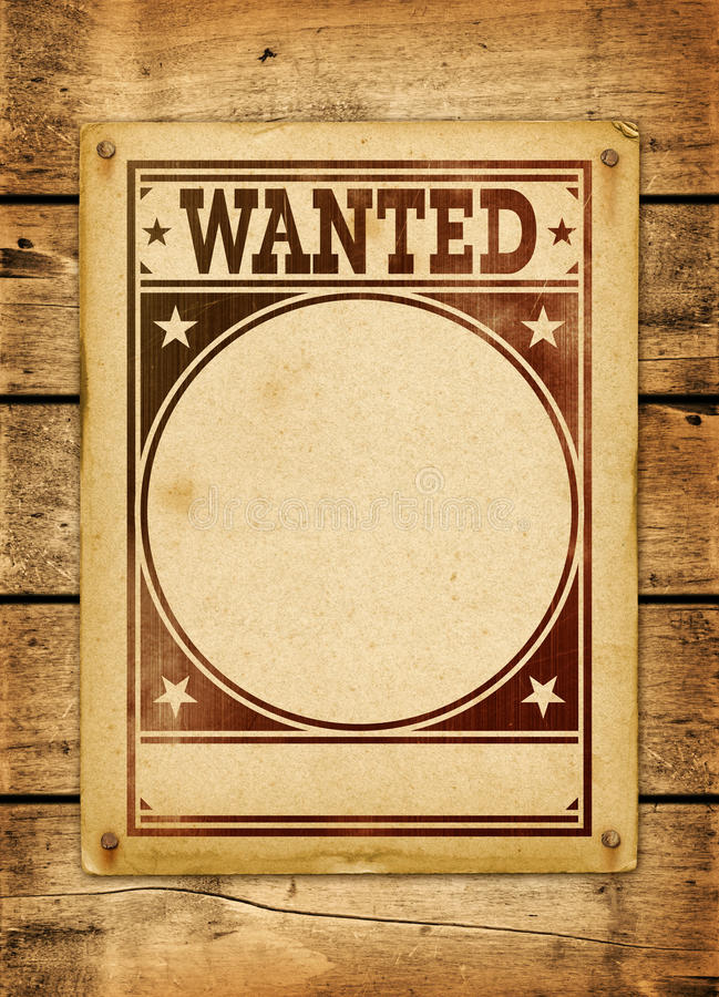 Wanted poster on a wood board. Wanted poster on a old wood board panel stock images