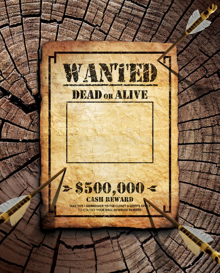 Wanted poster. On wooden surface royalty free stock image