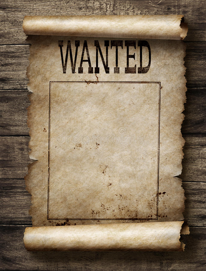 Wanted for reward poster. Wanted dead or live paper reward poster stock image