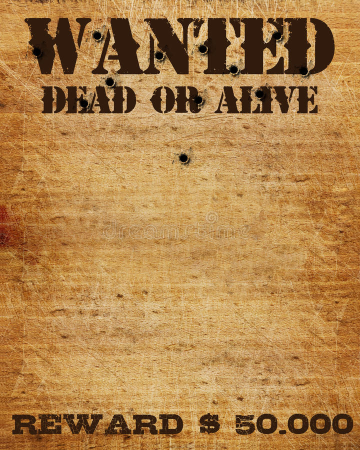 Wanted Sign. On wooden plate, dead or alive vector illustration