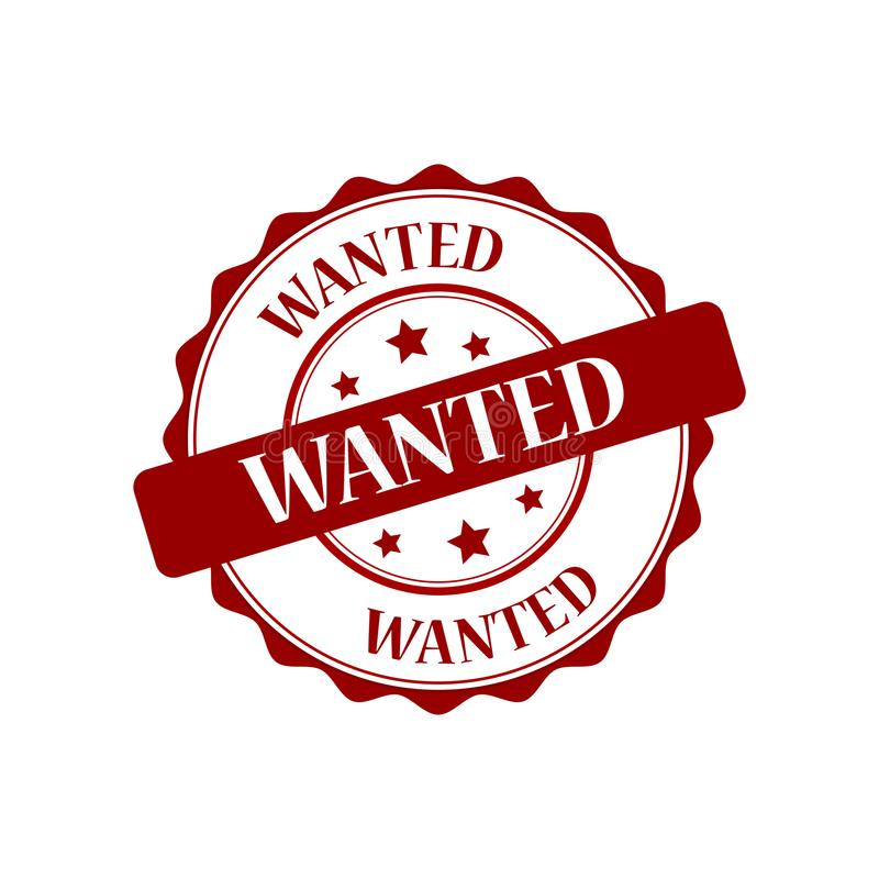 Wanted stamp illustration royalty free illustration