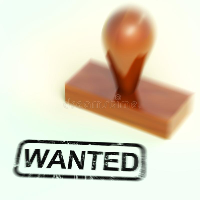 Wanted stamp means seeking or searching for something - 3d illustration vector illustration