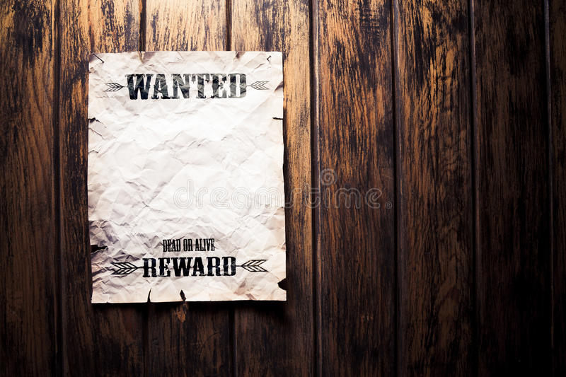 Wanted vintage poster with dramatic light stock image