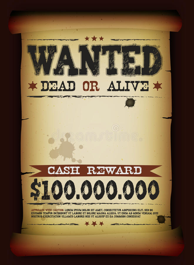 wanted vintage poster on parchment stock vector