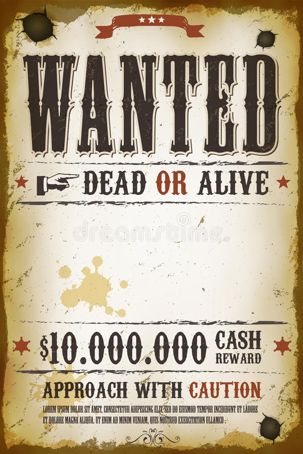 Free Wanted Vintage Western Poster Royalty Free Stock Photo - 37156975