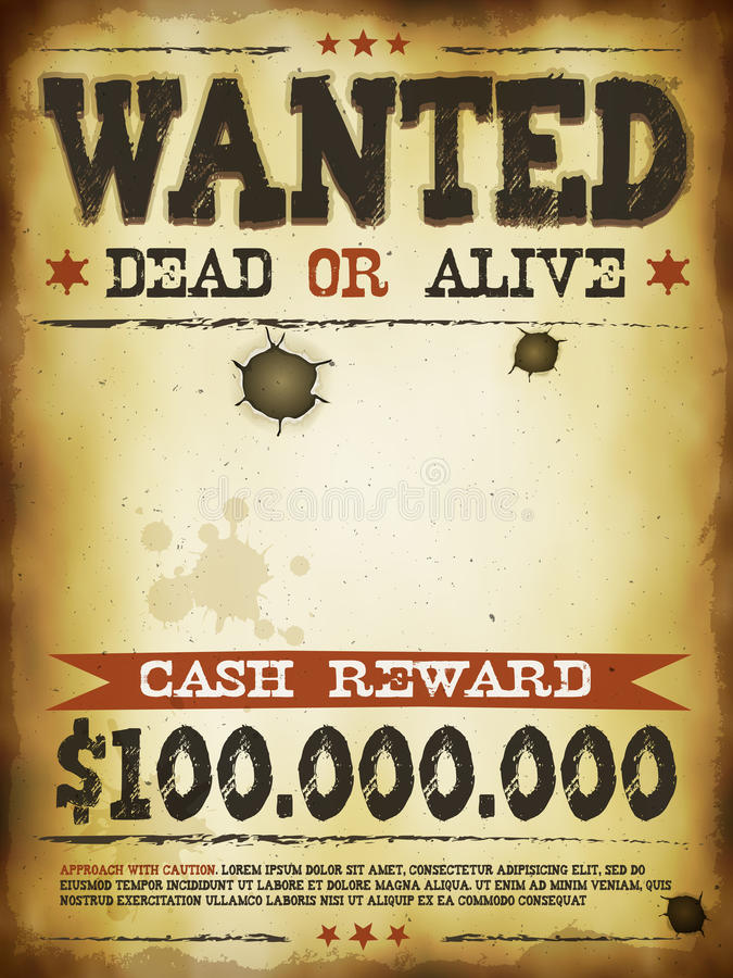 Free Wanted Vintage Western Poster Royalty Free Stock Image - 41021366