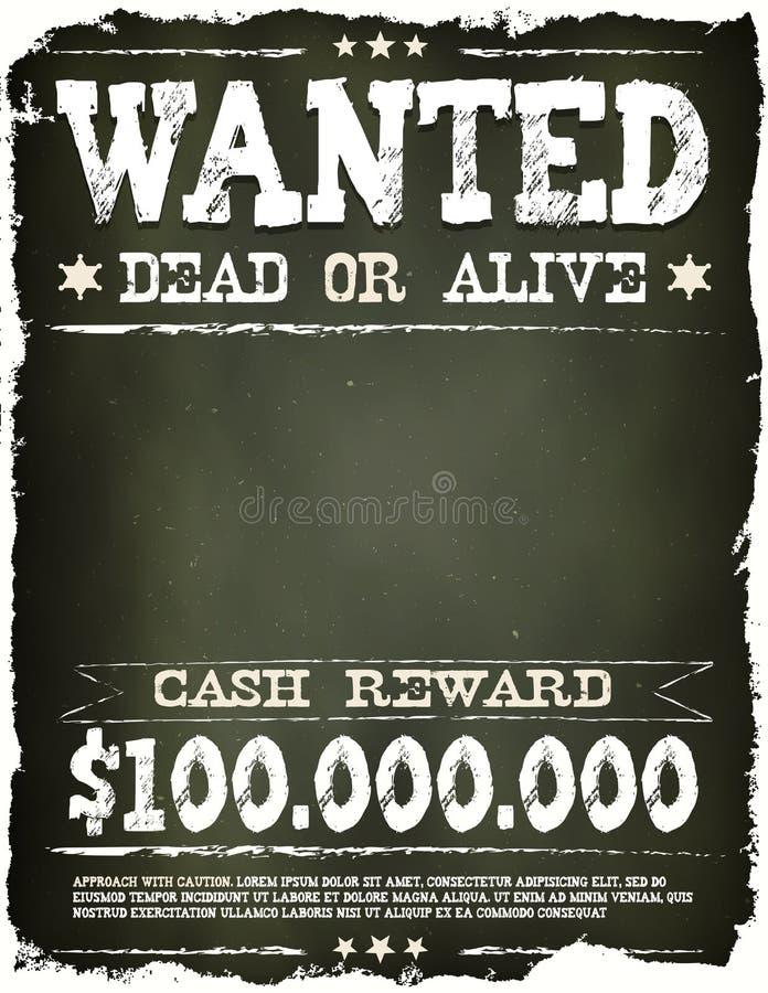 Wanted Vintage Western Poster On Chalkboard stock illustration