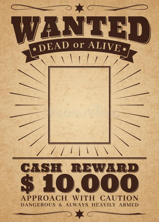 Free Wanted Vintage Western Poster. Dead Or Alive Crime Outlaw. Wanted For Reward Vector Retro Banner Royalty Free Stock Images - 135035719