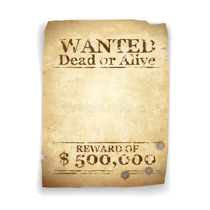 Wanted Western Poster vector illustration