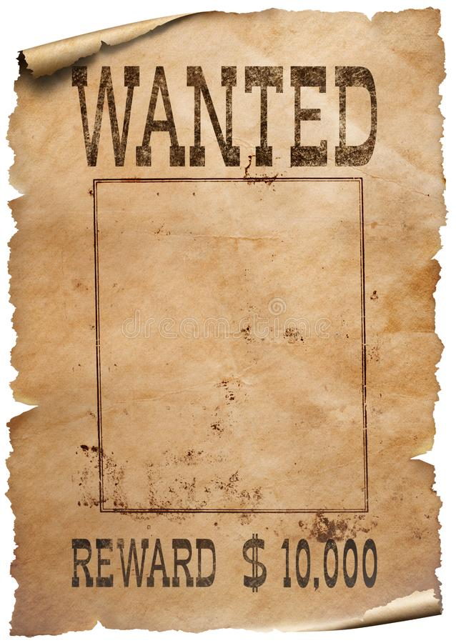 Wanted wild west poster on white background. Wanted wild west poster isolated on white background stock photos