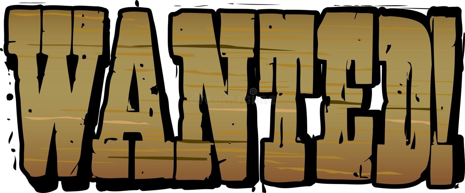 Download Wanted Wooden Lettering stock vector. Image of outlaw - 14447198