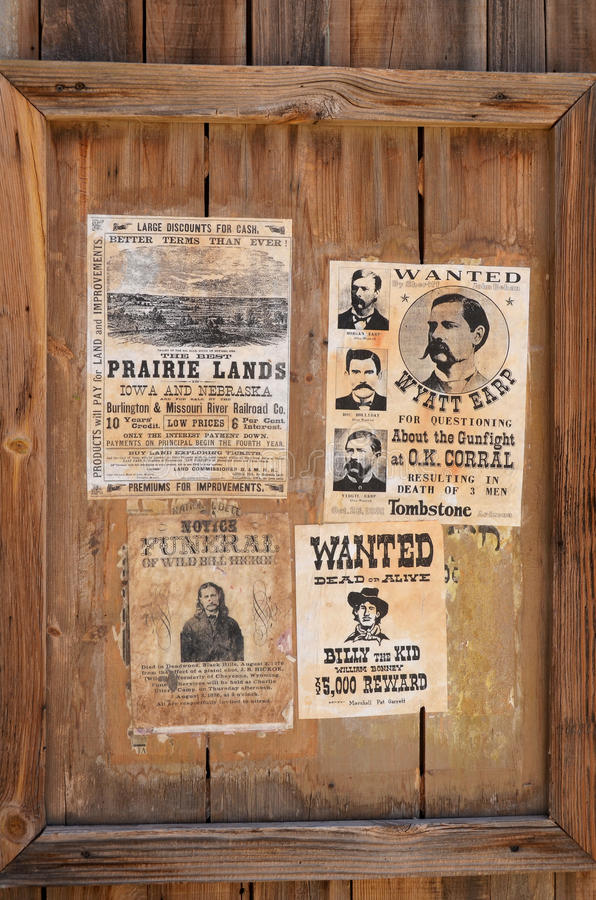 Wanted Wyatt Berry Stapp Earp royalty free stock image
