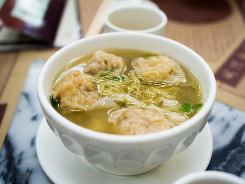 Wanton noodle Hong Kong style close up.  royalty free stock image