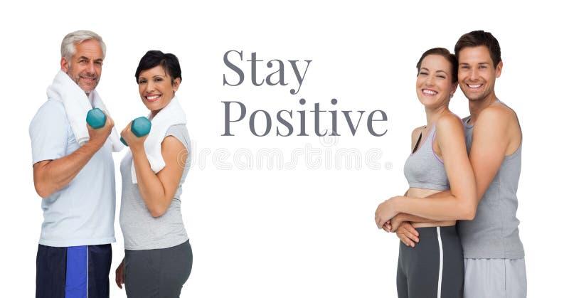 Wantowe pozytywne teksta i sprawności fizycznej pary zdjęcia stock
