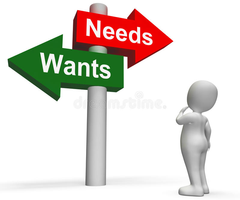 Wants Needs Signpost Shows Materialism. Wants Needs Signpost Showing Materialism Want Need royalty free illustration