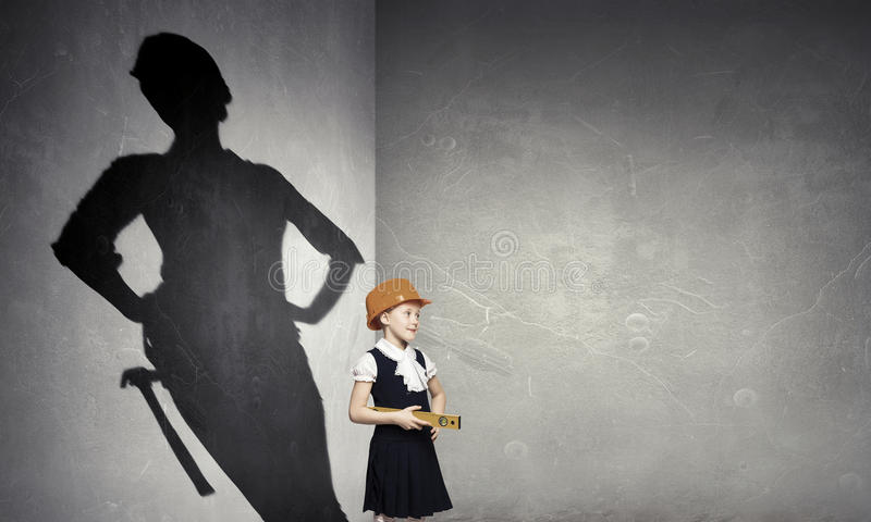 She wants to become an architect . Mixed media royalty free stock photography