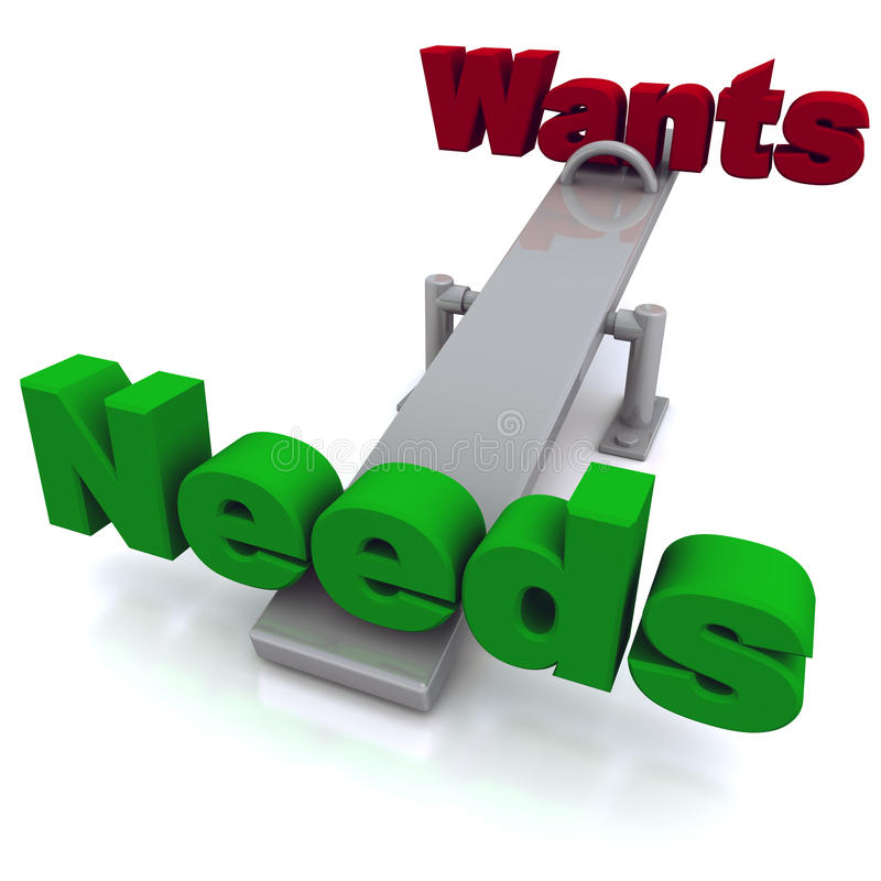 Wants vs needs stock illustration