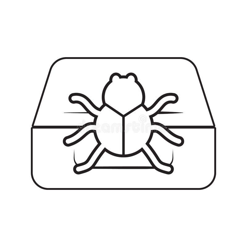 Wanze auf der Computerikone Element der Internetsicherheit für bewegliches Konzept und Netz Appsikone Dünne Linie Ikone für Websi vektor abbildung