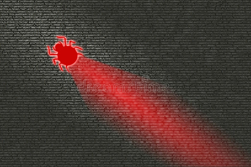Wanze, die Computercode cybersecurity Konzept ansteckt stockbilder