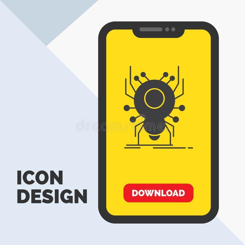 Wanze, Insekt, Spinne, Virus, App Glyph-Ikone im Mobile für Download-Seite Gelber Hintergrund vektor abbildung