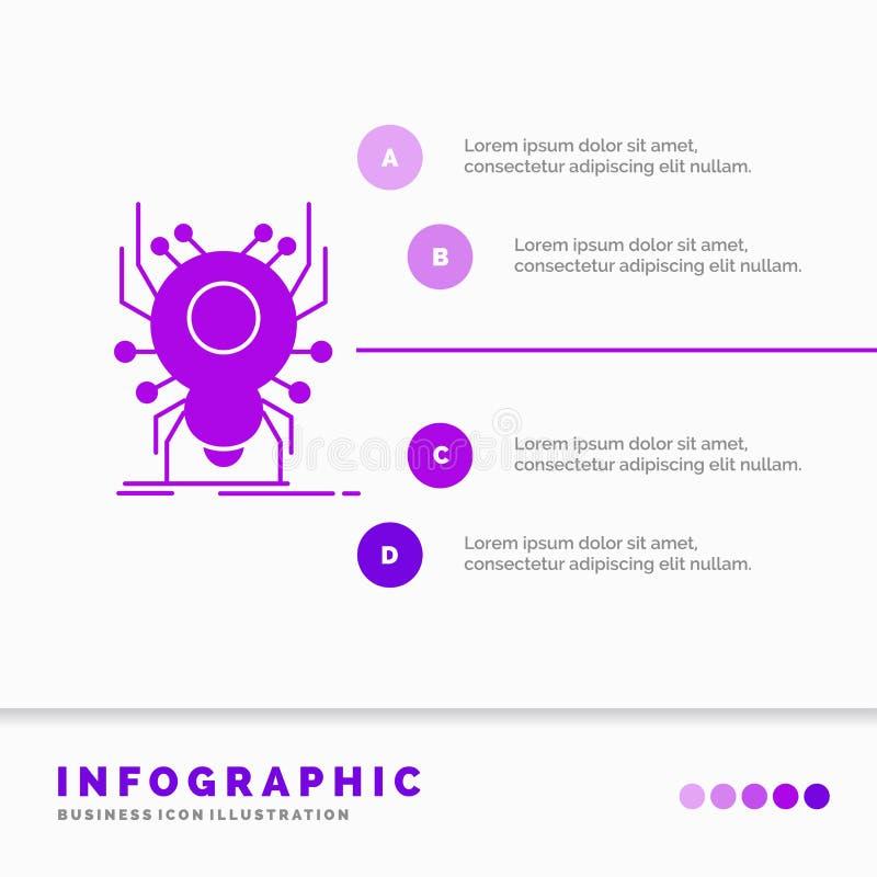 Wanze, Insekt, Spinne, Virus, App Infographics-Schablone für Website und Darstellung r stock abbildung