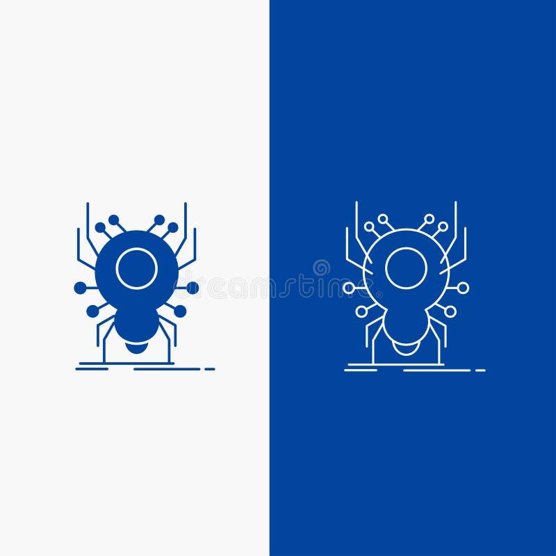 Wanze, Insekt, Spinne, Virus, App-Linien- und Glyphnetz Knopf in der blaue Farbevertikalen Fahne für UI und UX, Website oder Mobi stock abbildung